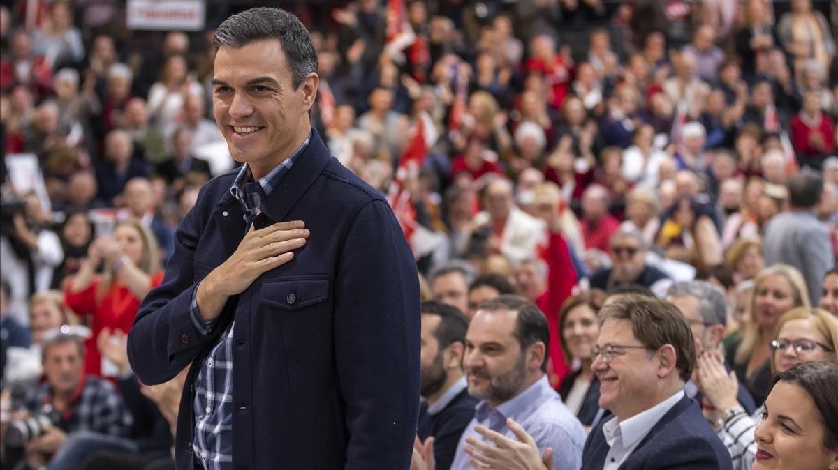 El presidente de Gobierno, Pedro Sánchez, en Valencia.
