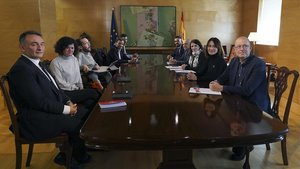 Primera reunión de la mesa de coordinación de PSOE y Unidas Podemos, el pasado 19 de febrero.