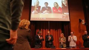 Quim Torra, en la reunión del grupo de JxCat, que ha conectado con Berlín a través de videoconferencia.
