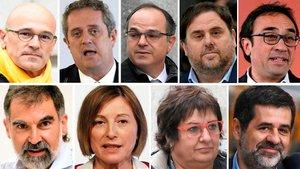 Los líderes independentistas encarcelados. Arriba: Romeva, Forn, Turull, Junqueras, Rull. Abajo: Cuixart, Forcadell, Bassa y Sànchez.