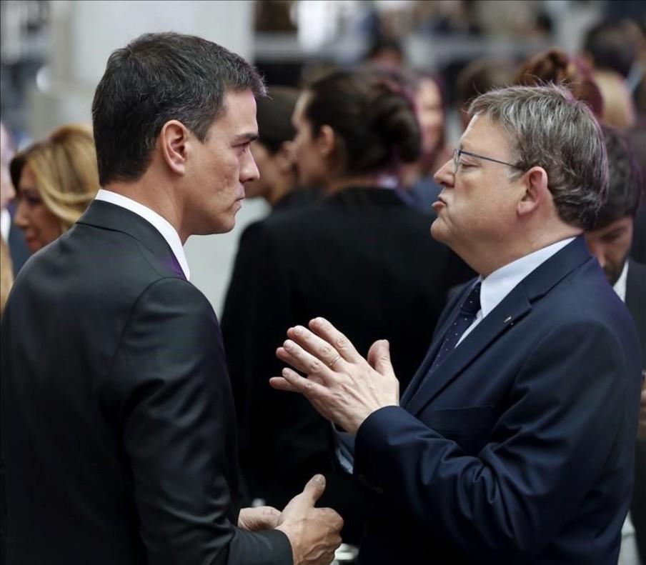 El secretario general del PSOE, Pedro Sánchez, con el presidente de Valencia, el socialista Ximo Puig en un acto reciente