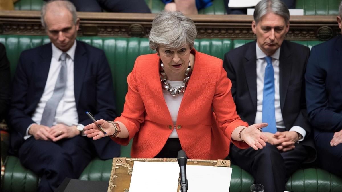Theresa May, la semana pasada en los Comunes.
