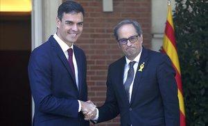 Pedro Sánchez recibe a Quim Torra, el pasado 9 de julio en la Moncloa.