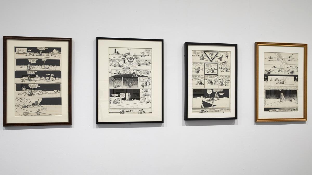 Varias piezas de la exposición sobre Herriman y 'Krazy Kat' en el Reina Sofía.