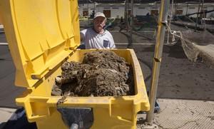 Contenedor lleno de restos de celulosa en el puerto de Barcelona.
