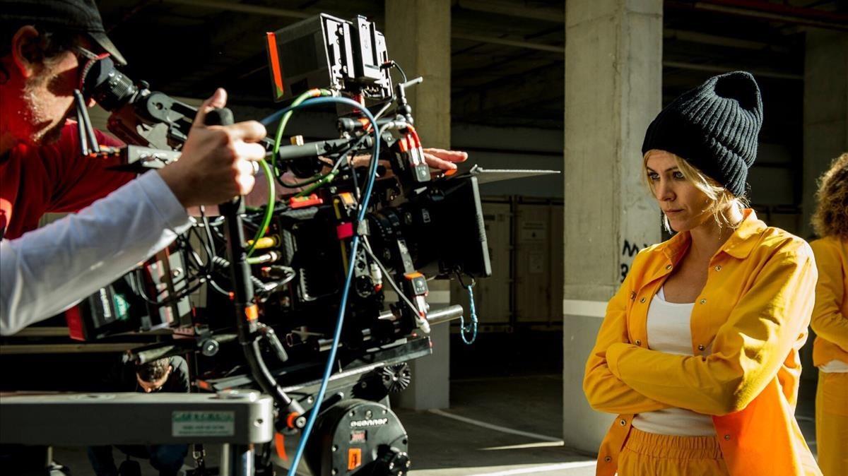 La actriz Maggie Civantos, en el rodaje de la nueva entrega de la serie 'Vis a vis'.