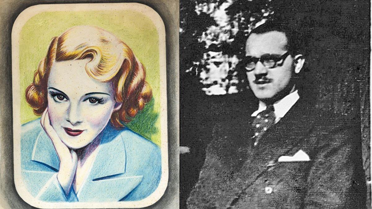 Alfonso Laurencic, a la derecha, y a la izquierda el retrato que con buena mano hizo él mismo de su esposa frau Preschern.