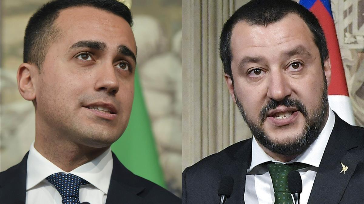 Luigi Di Maio (i), líder del Movimiento 5 Estrellas, y Matteo Salvini (d), líder de la Liga Norte.