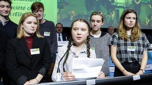 Greta Thunberg en suintervención el pasado febrero en Bruselas.