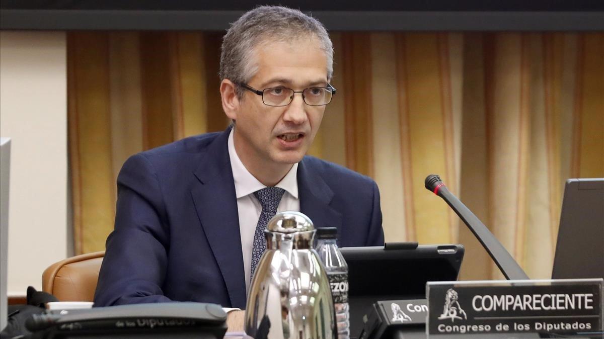 El gobernador del Banco de España, Pablo Hernández de Cos, comparece ante la Comisión de Asuntos Economicos y Transformacion Digital en el Congreso, el 18 de mayo.