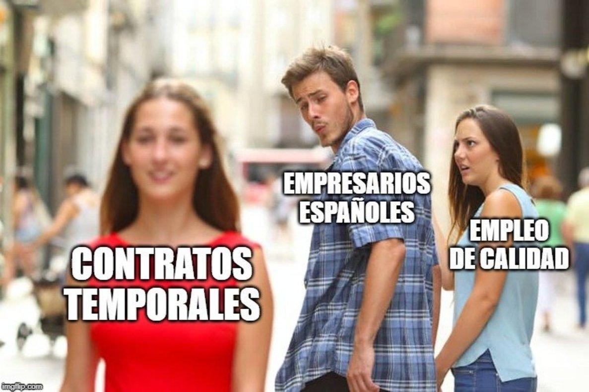 Meme sobre los contratos basuras.