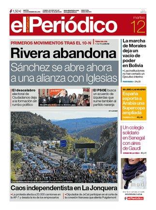 La portada d'EL PERIÓDICO del 12 de novembre del 2019