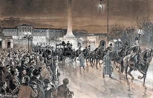 Arriba, óleo de Francisco José en su lecho de muerte. Abajo, el joven emperador con uniforme de húsar. A la derecha, heliograbado de un paseo con Sisi en Menton (Francia).