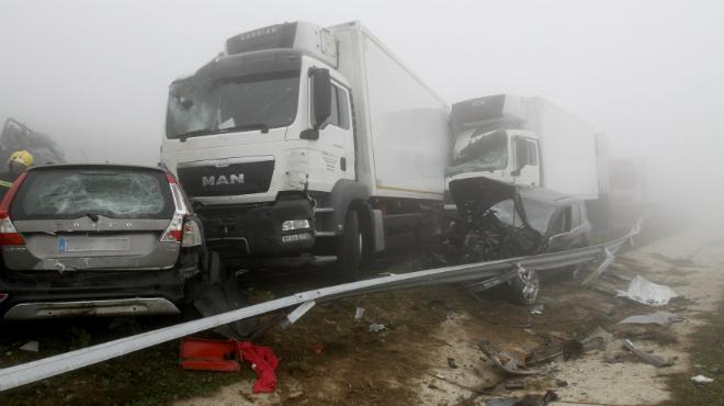 Accidente múltiple en una autovía de Lugo.