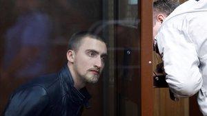 El actor Pável Ustínov, durante el juicio en Moscú.