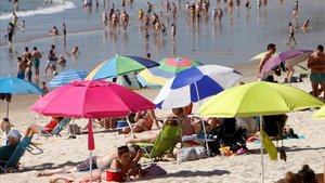 La playa de Samil, en Vigo, en verano del 2019