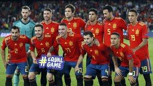 La alineación de España en el partido de la Liga de Naciones frente a Inglaterra en octubre del 2018.