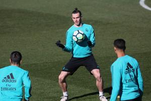 Bale, durante el entrenamiento de este viernes.