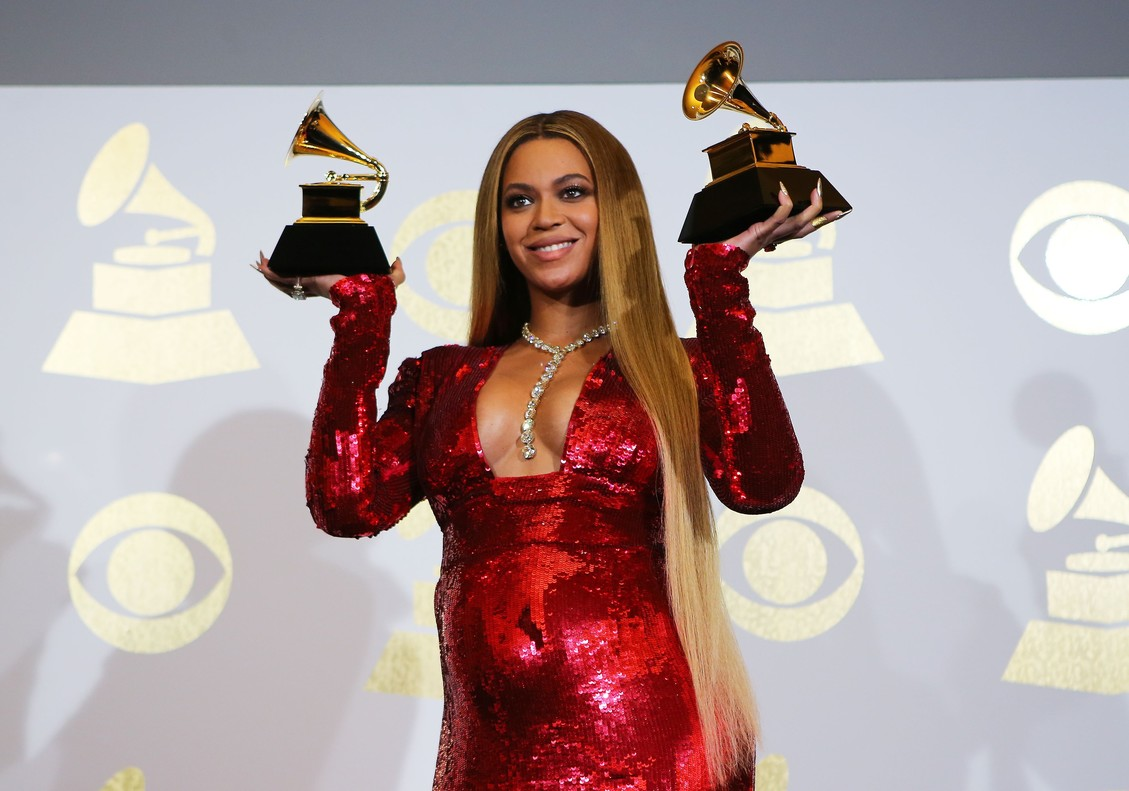 Beyonce holds the awards she won for Best Urban Contemporary Album for Lemonade and Best Music Video for Formation at the 59th Annual Grammy Awards in Los Angeles, California, U.S. , February 12, 2017. REUTERS/Mike Blake