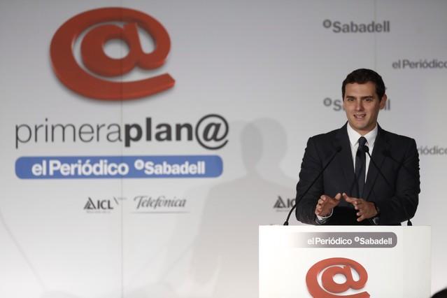 El cabeza de lista de Ciudadanos para el 20-D, Albert Rivera, en el foro Primera Plana de EL PERIÓDICO.