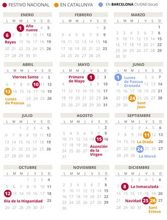 Calendario laboral de Barcelona del 2020.