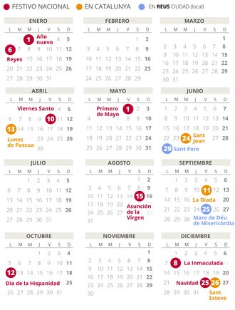 Calendario laboral de Reus del 2020.