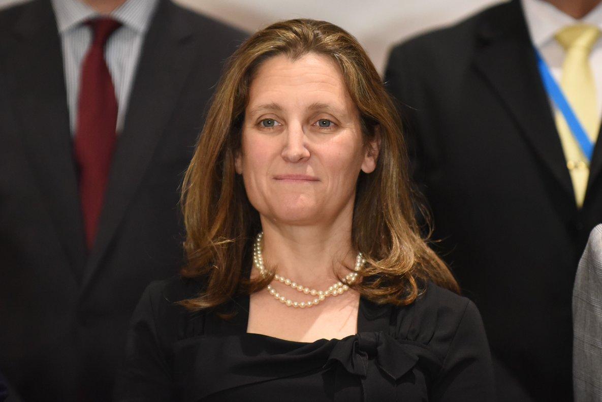 La ministra de Exteriores canadiense,Chrystia Freeland.