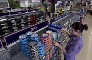 DVD expuestos en una tienda de Barcelona.