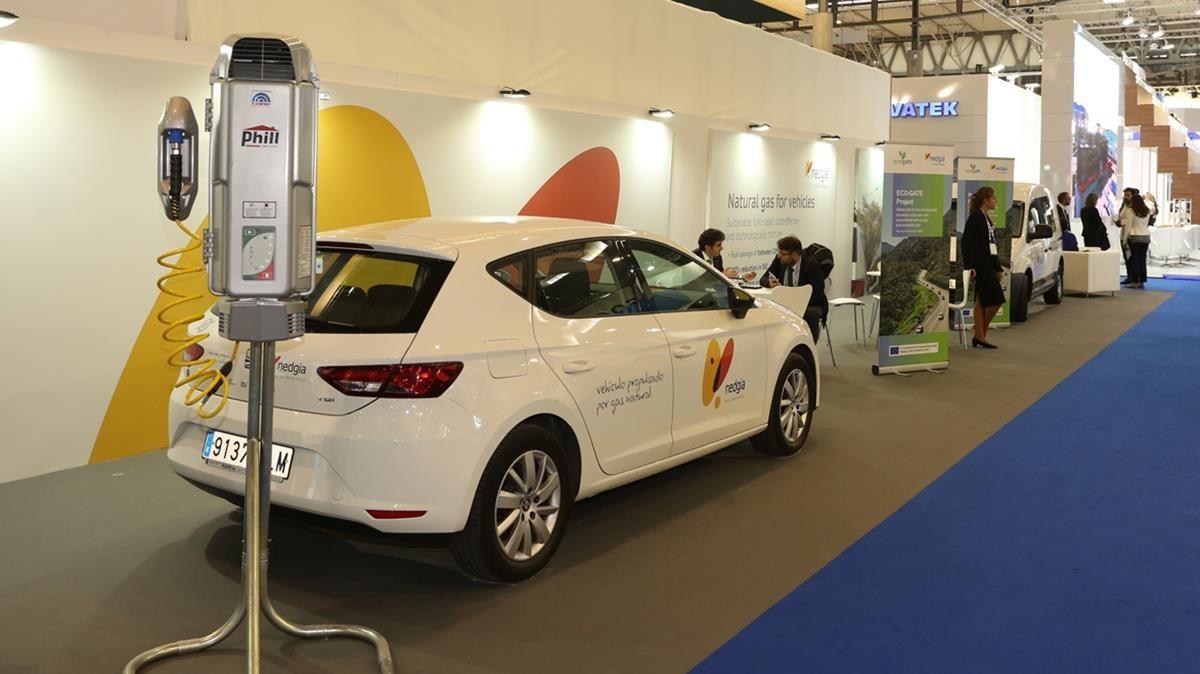 Cargador domestico para coches alimentados con gas comprimido GNC,mostrado estos días en la feria Gastech.