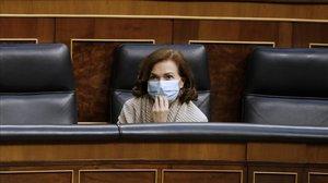 Carmen Calvo, el pasado miércoles en el Congreso, durante el debate sobre la prórroga de la alarma.