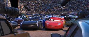 CARS 3 (Pictured) - Jackson Storm (voice of Armie Hammer) and Lightning McQueen (voice of Owen Wilson). ©2017 DisneyPixar. All Rights Reserved.