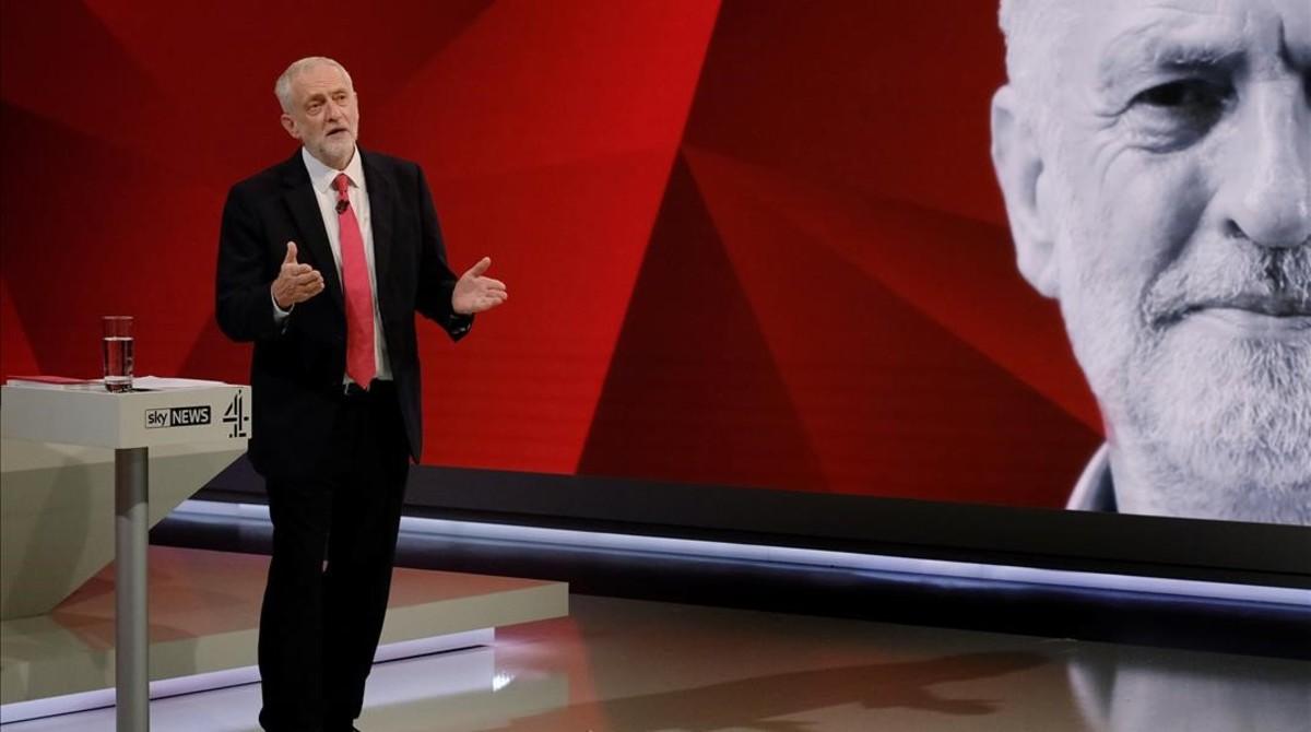 Corbyn, durante su intervención en el especial electoral conjunto de Channel 4 y Sky News, en Londres, el 29 de mayo.