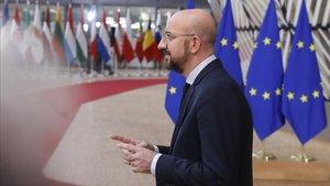 El presidente con Consejo Europeo,Charles Michel.