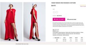 Imagende la página web retirada con el disfraz sexi de El cuento de la criada.