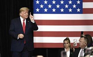 Donald Trump, durante un mitin en el Centro Knapp de la Universidad Drake en Des Moines, Iowa.