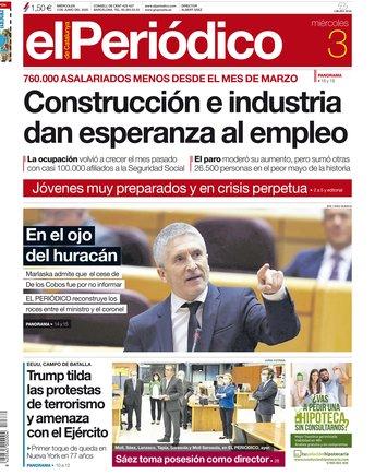 La portada d'EL PERIÓDICO del 3 de juny del 2020