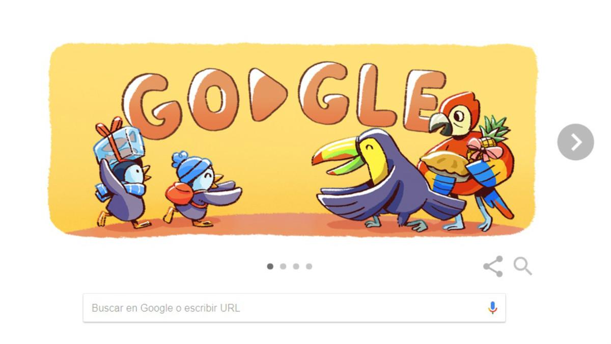 Google felicita el Nadal amb el seu 'doodle' de pingüins i aus tropicals