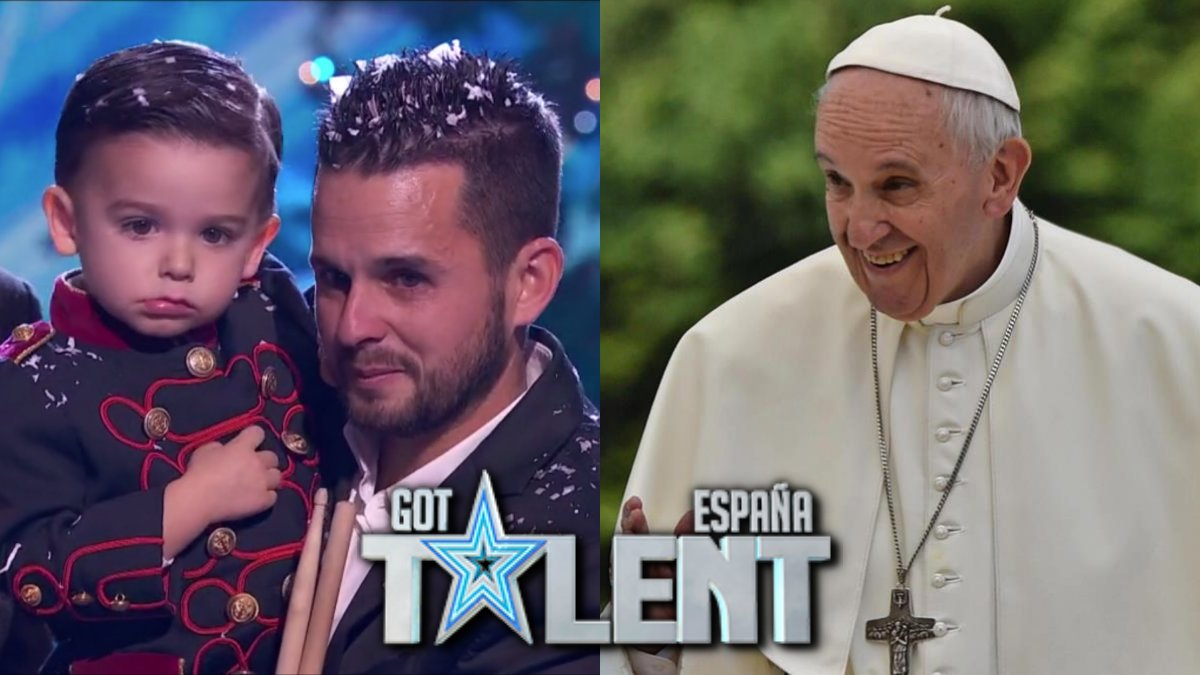 Hugo Molina y su padre al conocer la invitación del Papa Francisco en 'Got Talent'.