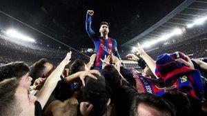 La icónica celebración del gol de Messi ante el PSG