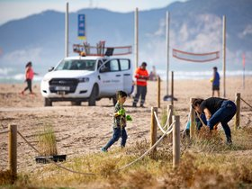 Jornada de recuperación de dunas el domingo pasado en Castelldefels