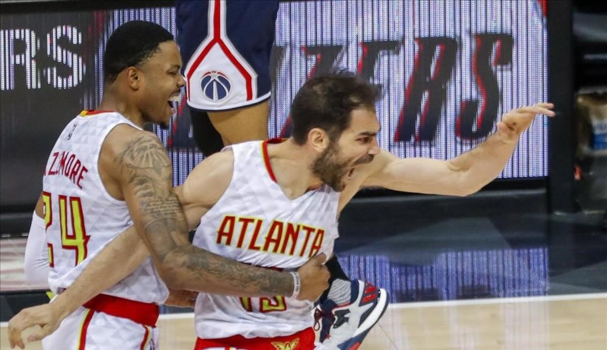 José Calderón celebra la victoria ante los Wizards.