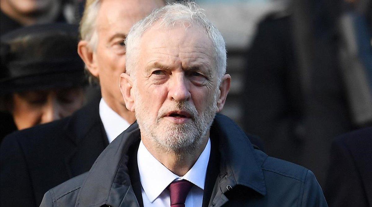 El líder laborista, Jeremy Corbyn, durante la celebración del Centenario del armisticio en noviembre de 2018.