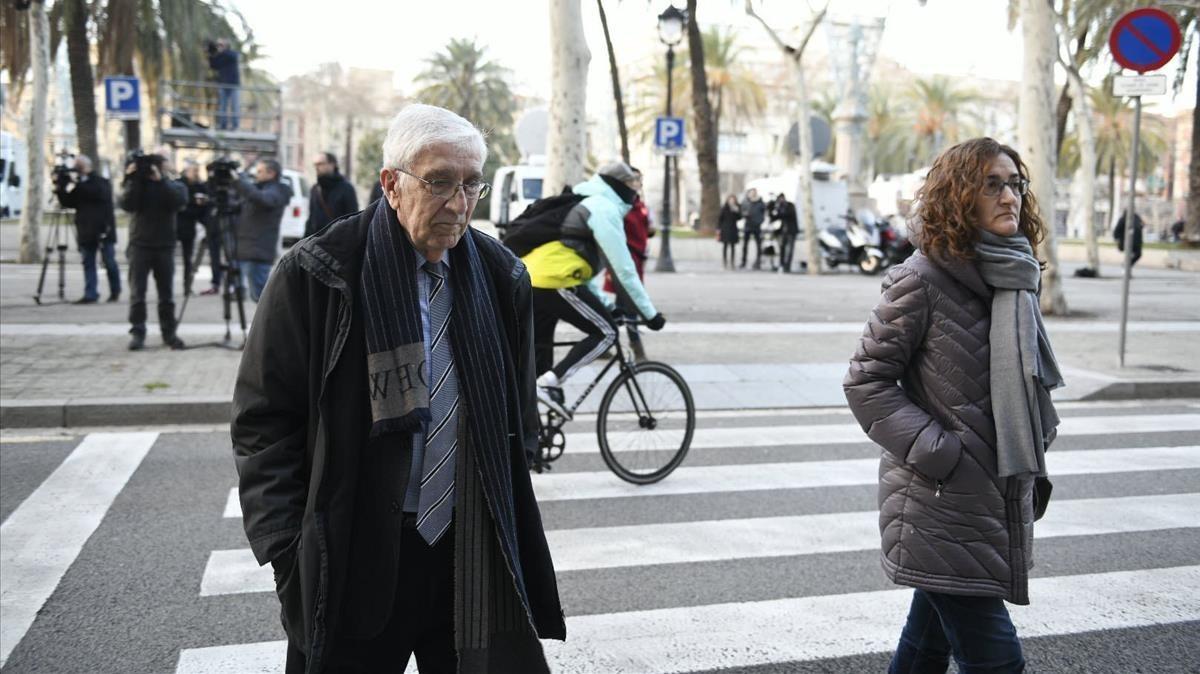 Llegada de Daniel Osàcar a la Audiencia de Barcelona, este lunes.