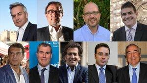 Los precandidatos a la presidencia del Barça. De izquierda a derecha y arriba a abajo: Victor FontAgusti Benedito,Jordi Farréy Lluis Fernández Ala; Joan Laporta, Emilio Rousaud, Toni Freixa, Jordi Roche y JuanRosell.
