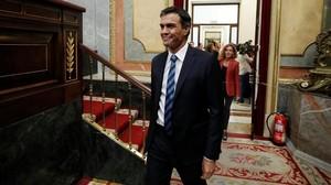 El líder del PSOE, Pedro Sánchez, en el Congreso de los Diputados.