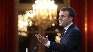 Macron, en su encuentro con la prensa en el Elíseo.