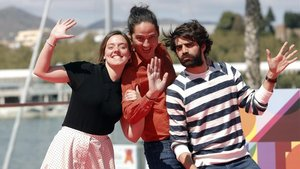 María Rodríguez Soto, Carlos Marqués-Marcet y David Verdaguer, tras el estreno de Els dies que vindran en Málaga