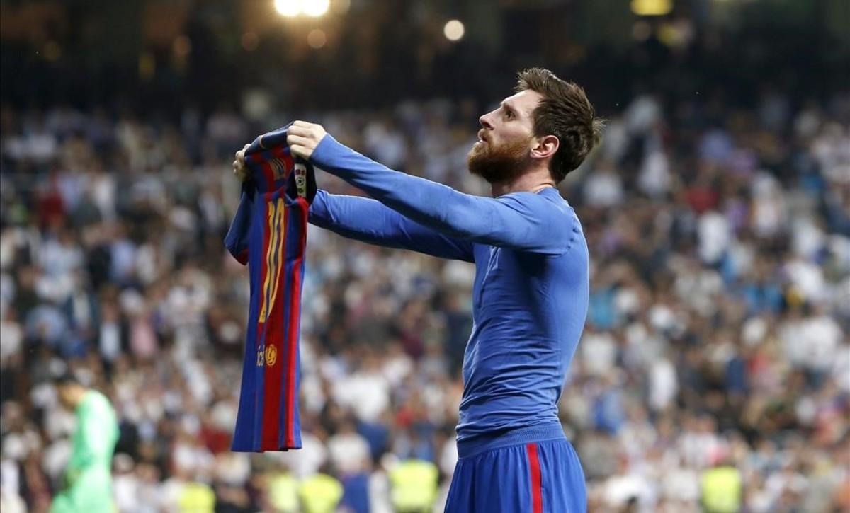 Messi, después del gol de la victoria en el Bernabéu en la pasada Liga.