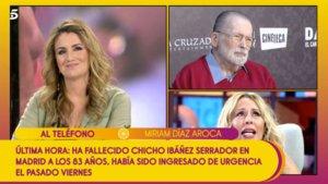Miríam Díaz-Aroca recordando a Chicho Ibáñez Serrador con Carlota Corredera en 'Sálvame'.