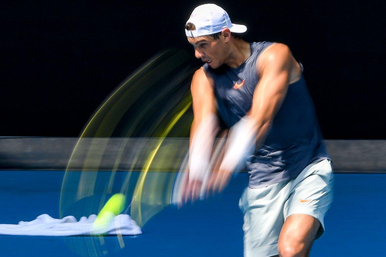 Rafael Nadal, enel entrenamiento de Melbourne.